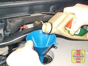 Illustration of step:  Oil is added through the filler cap hole - Car care - step 13