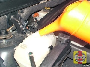 Illustration of step:  Top-up the level by adding a mixture of water and antifreeze to the expansion tank - Car care - step 19