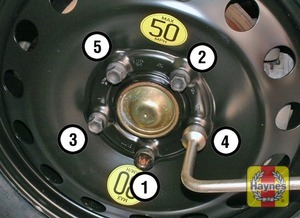 Illustration of step:  ecurely tighten the wheel bolts in the sequence shown then refit the wheel trim/hub cap (as applicable) - step 9