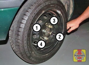 Illustration of step:  Securely tighten the wheel bolts in the sequence shown then refit the wheel trim - step 9