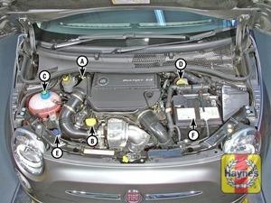 Illustration of step:  500 diesel engine A Engine oil level dipstick B Engine oil filler cap C Coolant expansion tank D Brake and clutch fluid reservoir E Screen washer fluid reservoir F Battery  - step 1