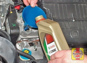 Illustration of step:  …and top‑up the level; a funnel may be useful in reducing spillage - Car care - step 12