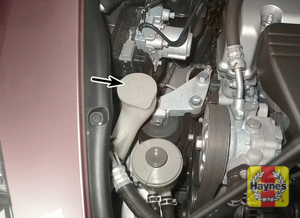 Illustration of step:  1 Fluid for the windshield washer system is stored in a plastic reservoir, which is located at the right front corner of the engine compartment (shown here) - Engine coolant - step 17