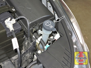 Illustration of step:  1 The windshield washer fluid reservoir is located in the left front corner of the engine compartment  - Brake and clutch fluid - step 31