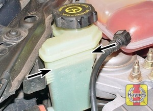 Illustration of step:  The power steering fluid reservoir is located in front of the coolant expansion tank - Safety first! - step 34