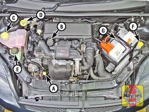 Illustration of step:  Diesel engine - Duratorq 1 - Underbonnet check points - step 3