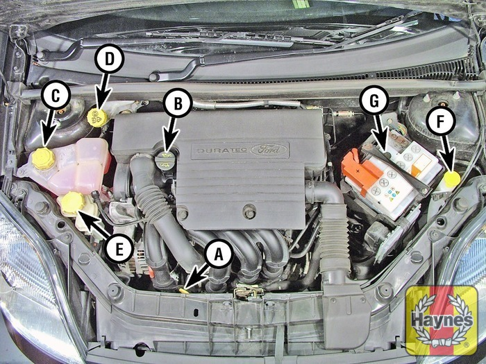 Illustration Of Step Petrol Engine Duratec V A Engine Oil Level Dipstick B Engine