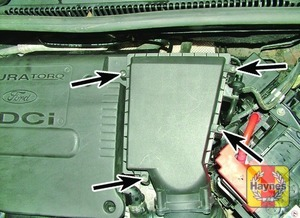 Illustration of step:  Air cleaner cover retaining screws  - 1.6 litre engine - step 9