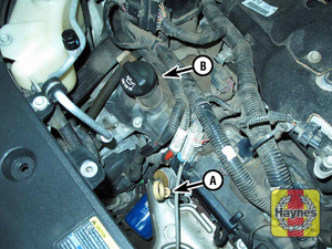 Illustration of step: 2 Engine oil dipstick (A) and oil filler cap (B) - Engine oil - step 4