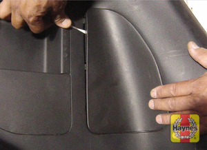 Illustration of step:  1 Open the tailgate and remove the access panel from the side you are changing the bulb on - step 1