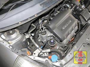 Illustration of step:  6 Wipe the area around the filler cap, then remove the cap from the valve cover to add oil - step 7