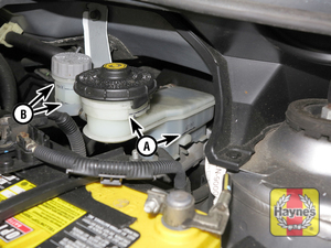 Illustration of step:  17 To check the fluid level of the brake (A) and clutch (B) master cylinders, simply look at the MAX and MIN marks on the reservoir - Brake and clutch fluids - step 25