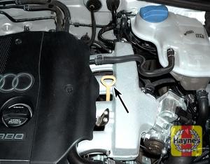 Illustration of step: 2b Engine oil dipstick location - four-cylinder engine  - Engine oil - step 5