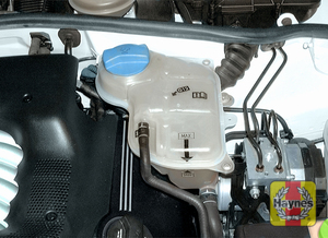 Illustration of step:  2 The coolant expansion tank is located on the left (driver's) side - keep the level near the MAX mark or MIN mark on the side of the reservoir, depending on engine temperature - Engine coolant - step 16