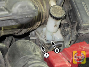 Illustration of step: 2 The brake fluid level should be kept between the MIN (A) and MAX (B) marks on the translucent plastic reservoir  - Brake and clutch fluids - step 27