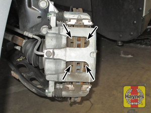 Illustration of step: Virtually all cars have this inspection window in the brake caliper body, you can usually see the brake pad thickness from here  - step 6