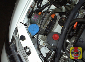 Illustration of step: Locate the windshield washer fluid reservoir filler cap, and undo the filler cap - step 1