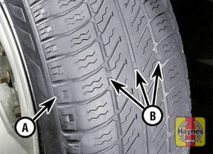 Illustration of step: The original tires have tread wear safety bands (B), which will appear when the tread depth reaches approximately 1 - step 2