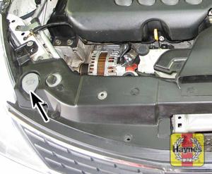 Illustration of step: Locate the windshield washer fluid reservoir filler cap - step 1