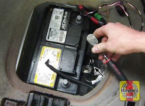 Illustration of step: Check that the battery is generally secure, if loose, tighten the battery hold-down fasteners - step 4