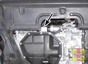 Illustration of step: The oil filter is located here  - step 1