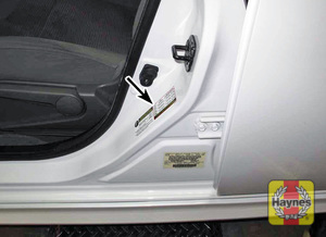 Illustration of step: Look for a sticker showing your vehicle's tire pressures, usually located on the driver's door opening - step 1
