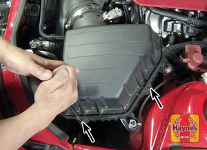 Illustration of step:  2b On supercharged V8 engines, remove the air filter cover fasteners  - step 3