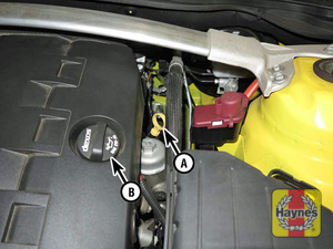 Illustration of step:  2a Engine oil dipstick (A) and oil filler cap (B) locations (V6 engine)  - Engine oil - step 4