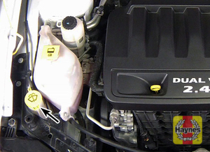 Illustration of step: Locate the windshield washer fluid reservoir filler, and undo the cap - step 1