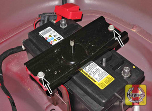 Illustration of step: Check battery is generally secure, if loose, tighten the battery retainer - step 9