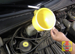 Illustration of step: ONLY WHEN COLD! - If required, remove the cap to add more coolant - step 3