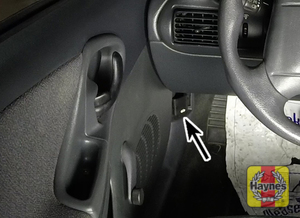 Illustration of step: Pull this lever in the driver's footwell - step 1