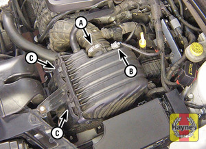 Illustration of step:  3a Loosen the clamp (A) and disconnect the IAT sensor connector (B) (only if you are removing the cover completely) - step 4