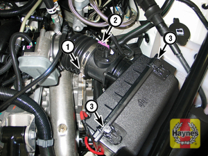 Illustration of step:  9 Air filter housing details (2009 and earlier models; V8 engine shown): 1 Intake duct hose clamp - step 11