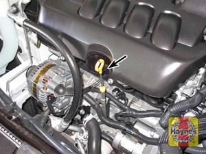 Illustration of step:  2 Engine oil dipstick location - 2 - Engine oil - step 4