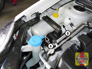 Illustration of step:  2 Coolant reservoir MIN (A) mark; add coolant to bring the level near the MAX (B) mark on the reservoir  - Engine coolant - step 13