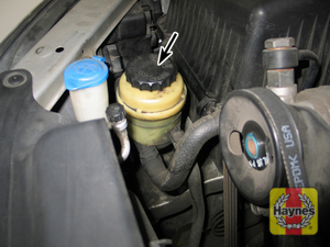 Illustration of step: 4 The power steering fluid reservoir is located on the right side of the engine compartment - the reservoir is translucent, so the fluid level can be checked either hot or cold without removing the cap  - Power steering fluid - step 33