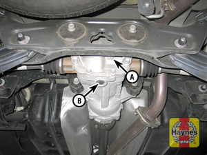 Illustration of step: 4 Rear differential check/fill plug (A) and drain plug (B) - 2011 and later models  - Rear differential lubricant level (RWD/AWD models) - step 58