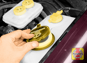 Illustration of step:  14 Fluid for the windshield washer system is located in a plastic reservoir in the engine compartment  - Engine coolant - step 18