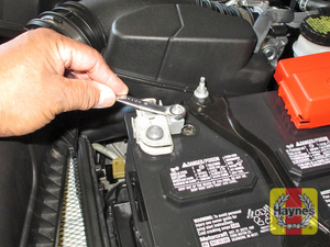 Illustration of step: Check that the battery is generally secure, if loose, tighten the battery hold-down fasteners - step 3