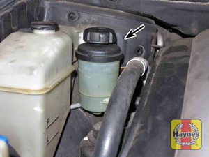 Illustration of step: 2 The power steering fluid reservoir is located next to the coolant reservoir  - Power steering fluid - step 35