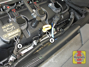 Illustration of step:  2 Engine oil dipstick (A) and oil filler cap (B) locations - 3 - Engine oil - step 4