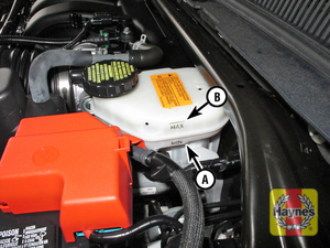 Illustration of step:  3 The brake fluid level should be kept between the MIN (A) and MAX (B) marks on the translucent plastic reservoir  - Brake fluid - step 24