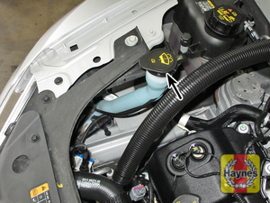 Illustration of step:  2 The windshield/rear window washer fluid reservoir is located in the right front corner of the engine compartment  - Windshield washer fluid - step 33